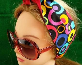 Retro Mod Circles headband hairwrap ladies teen girls headband free shipping
