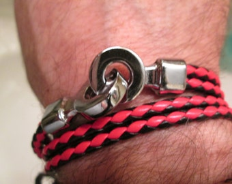 HANDMADE leather 4 time wrap row braided  NATURE  like  silvertone  SLIP clasp see colors right  free shipping