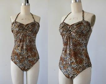 vintage 1970s swimsuit / 70s new leopard print bathing suit / 70s halter one piece swim suit / 1970s cheetah swimwear / large
