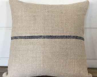 Vintage Handwoven European Grain Sack Pillow Cover/SUTHERLAND 16 x 16
