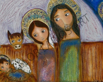 The Nativity - Reproduction from Painting by FLOR LARIOS (5 x 10 Inches Print)