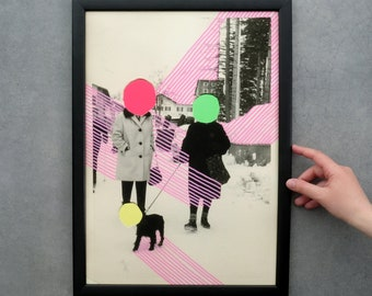 Neon Fine Art Print Of A Vintage Style Collage, A3 Giclée On Hannemule Paper, Retro Photography Print