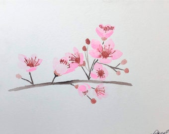 Watercolor Cherry Blossoms: Instant Download of original watercolor sakura