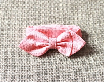 Pink Bow Tie Bowtie - Pre-tied Double Bows Flower - Men Boy Toddler Children