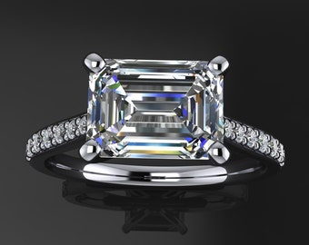 talbot ring - 1.75 carat emerald cut NEO moissanite engagement ring, east west engagement ring