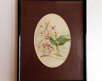Vintage Small Framed Original Watercolor - Botanical Painting - 8 x 10 - Black Metal Frame, Brown Oval Mat - Lavender Flowers, Green Leaves