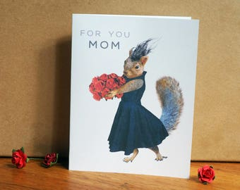 Squirrel in Black Dress with Red Roses Printable Mother's Day Card, Squirrel Mother's Day Card