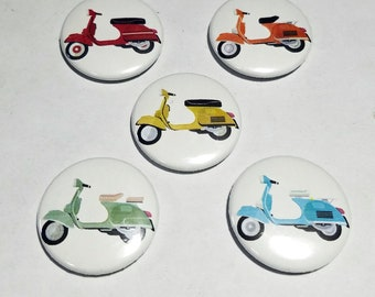 Rainbow Vespa Scooter 1 inch button set