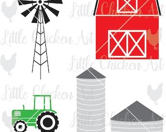 Farm Graphics, Cut File, Barn, Silo, Tractor, Windmill, Silhouette, Cricut, Brother, Cameo, Design Space, CutNScan, JPEG, SVG, DXF, Clip Art