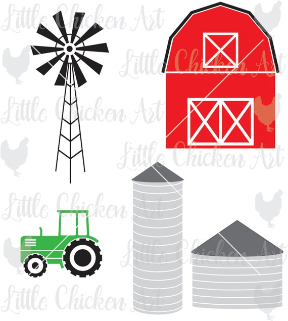 Farm Graphics Cut File Barn Silo Tractor Windmill