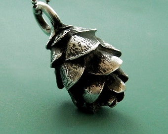 Pine Cone Necklace in Sterling Silver Hemlock, Last Minute Gift, Free Shipping, Gardening Gift