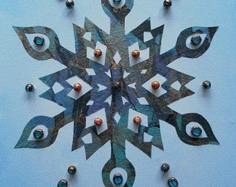 Winter Blues Beaded Snowflake Canvas