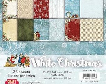 36 papers 15.2 x 15.2 cm Kraft and WHITE CHRISTMAS you