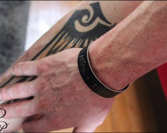 Mens Handscribed ™ Custom Handwriting Cuff - Mens Handwriting Cuff-Memorial Jewelry-Actual Handwriting Bracelet