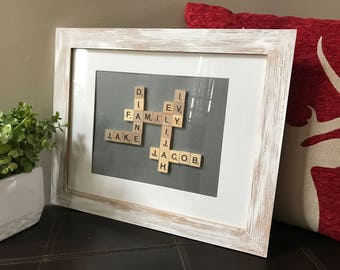Framed Scrabble Game Piece Word or Name Art