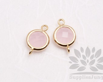 F124-G-IP// Gold Plated Ice Pink Rounded Glass Pendant Connector, 2 pcs