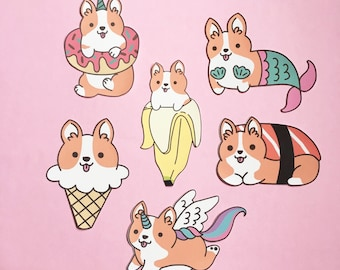 Corgi Patches - Iron On Patch - Cute Patches - Kawaii Patches - Foods Patches - Patches for Jacket - Cute Pin - Cute Badge - Unicorn Patch