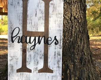 Rustic Initial and Last Name