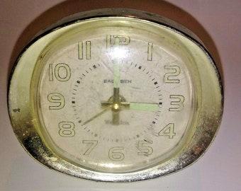 Vintage Westclox Baby Ben Glow in the Dark Alarm Clock - Rare Off-White Color