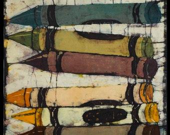 "CRAYOLAS IN BATIK 18"" x 19""( Image size) Giclee print on acid free paper, 1/4"" white border"