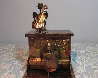 Copper Piano and Cello Player Music Box, Plays the Sting, 1970s