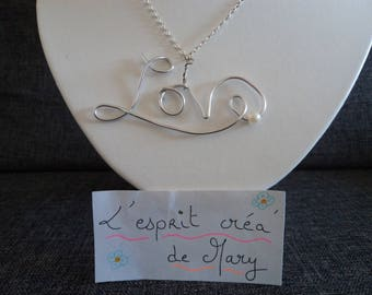 Necklace: a silver chain with a pendant personalized name or Word LOVE or other