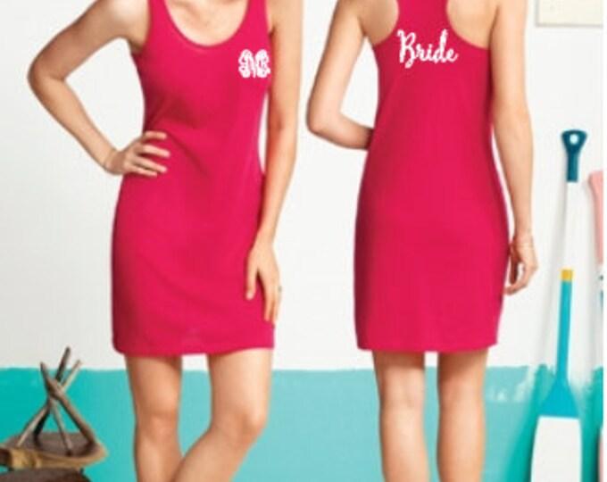 Monogram Swimsuit Coverup - Bridal Party - Monogram Tank Dress - Beach Coverup - Bride Tank Dress - Bridesmaid Coverups - Bachelorette Party