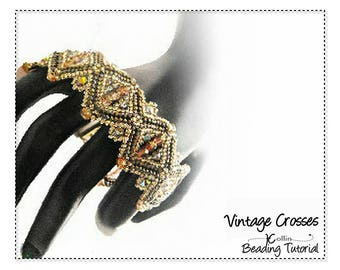 Peyote Stitch Bracelet Pattern Beading Pattern and Instructions, Beadweaving DIY Beaded Jewelry Beading Tutorial PDF Download VINTAGECROSSES