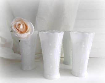 Milk Glass Vases For Wedding, Set of 5, Tear Drop Pattern, White Farmhouse Decor, Wedding Centerpieces