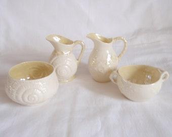 2 Pair Belleek Creamer Sugar - 4 pieces - Irish Porcelain - 4th Green Mark - 1945 to 1955 - Neptune Cream Sugar - Ivy Cream Sugar