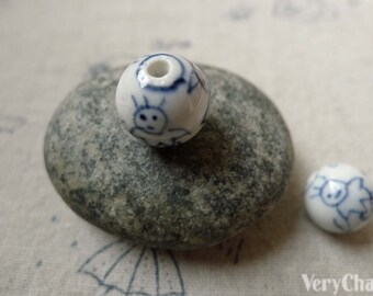 10 pcs of Hand Painted Porcelain Ceramic Beads 12mm A6398