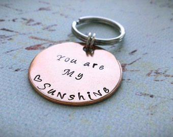 You are my sunshine keychain, Handstamped Keychain, you are my sunshine, your are my sunshine stamped, personalized key chain