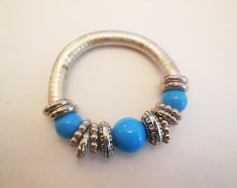 Vintage Beaded Bracelet Silver Tone Metal Stretchy Bangle Costume Jewelry Fashion Accessories Beach Resort Retro Summer Style