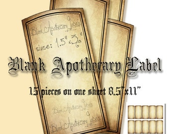 Printable Blank Apothecary Labels *Add Your Own Text* Apothecary Bottle-Jars Labels,Instant download digital collage sheet.