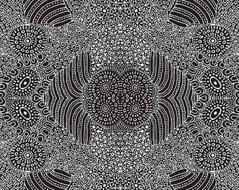 Australian Fabric -  - Aboriginal Fabric - Waterhole Black by Anna Pitjara - Priced by the half yard
