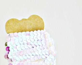 White Sequin Ribbon {5m} | Sequin Ribbon Trim | DIY Craft Supply | Wedding Engagement Gift Wrap | Valentine Gift Wrap | Sparkle Trim