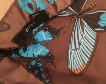 Gucci, Authentic Ηandkerchief Silk 45x45cm, Butterflies Brown