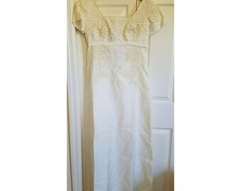 Vintage 60s flower child wedding dress - bridal originals embroidered wedding dress