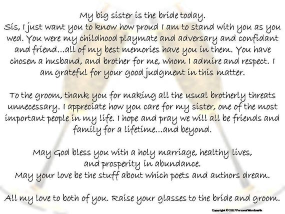 Toast to Bride from Brother Printable Download Best Man Toast