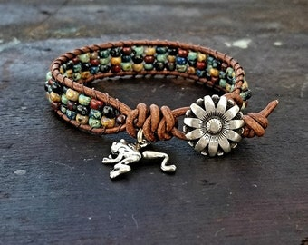 Seed Bead Leather Wrap Bracelet Beaded Leather Wrap Bracelet Womens Jewelry Bohemian Jewelry Boho Frog Charm Summertime
