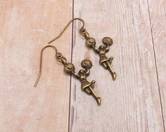 Earrings - Cheerleader Charms - Pom Poms - Dance Team - Exercise - Handstand - Cheer - Sports Team - Athletics - Antique Gold - Bronze
