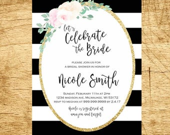 Black and White Bridal Shower Invitation, Whimsical Bridal Shower Invite, Striped Bridal Shower Invitation, Floral Bridal Invitation