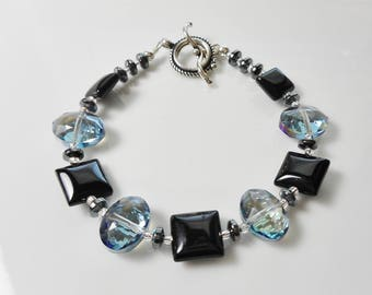 Blue Crystal and Black Gemstone Beaded Bracelet