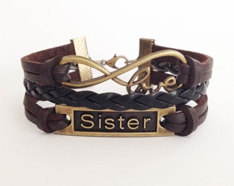Sister bracelet Infinity love bracelet Friendship bracelet Antique bronze bracelet Brown leather bracelet  Girlfriend gift
