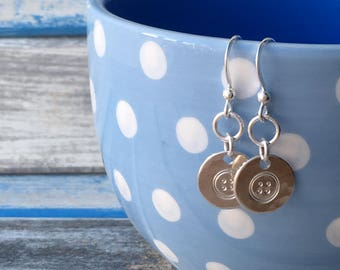 Buttons - handstamped sterling silver earrings