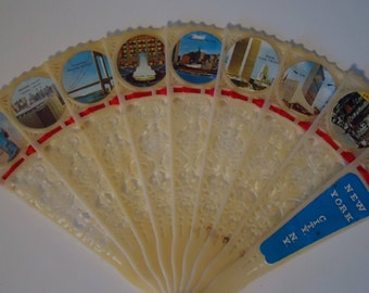 vintage souvenir New York New York fan with fun photos Statue of Liberty Twin Towers Madison Square Times Square