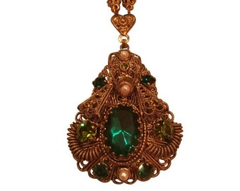 Vintage 1950s Filagree Green Crystal West Germany Necklace