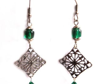 Prints of glass beads and Swarovski emerald green Silver earrings