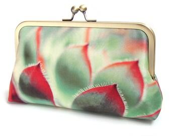 Clutch bag, silk purse, cacti succulent, red, green, leaf print, wedding, flower clutch, bridesmaid gift