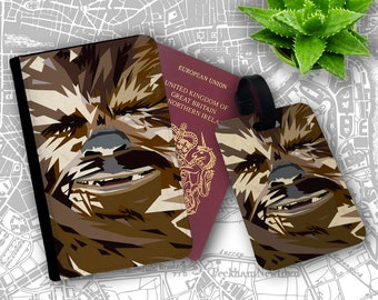 Chewbacca Star Wars Wookie Warrior Pilot Solo Travellers Passport Cover And Luggage Tag